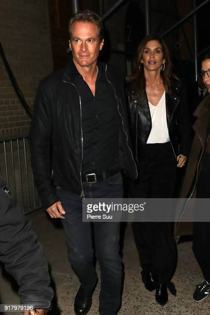 Rande Gerber and Cindy Crawford leave the Calvin Klein Collection during New York Fashion Week at New York Stock Exchange on February 13 2018 in New...