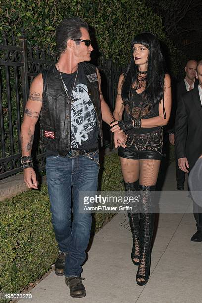 Rande Gerber and his wife Cindy Crawford are seen celebrating Halloween in Beverly Hills on October 30, 2015 in Los Angeles, California.