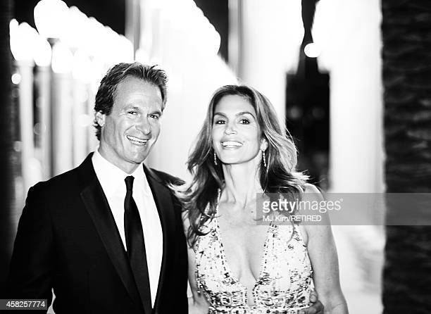 Rande Gerber and model Cindy Crawford are photographed at the 2014 LACMA Art Film Gala Honoring Barbara Kruger And Quentin Tarantino Presented By...