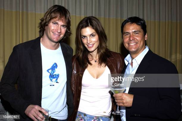 Rande Gerber Cindy Crawford and Efren Puente senior brand manager for Schieffelin Somerset celebrate the launch of CIROC Vodka