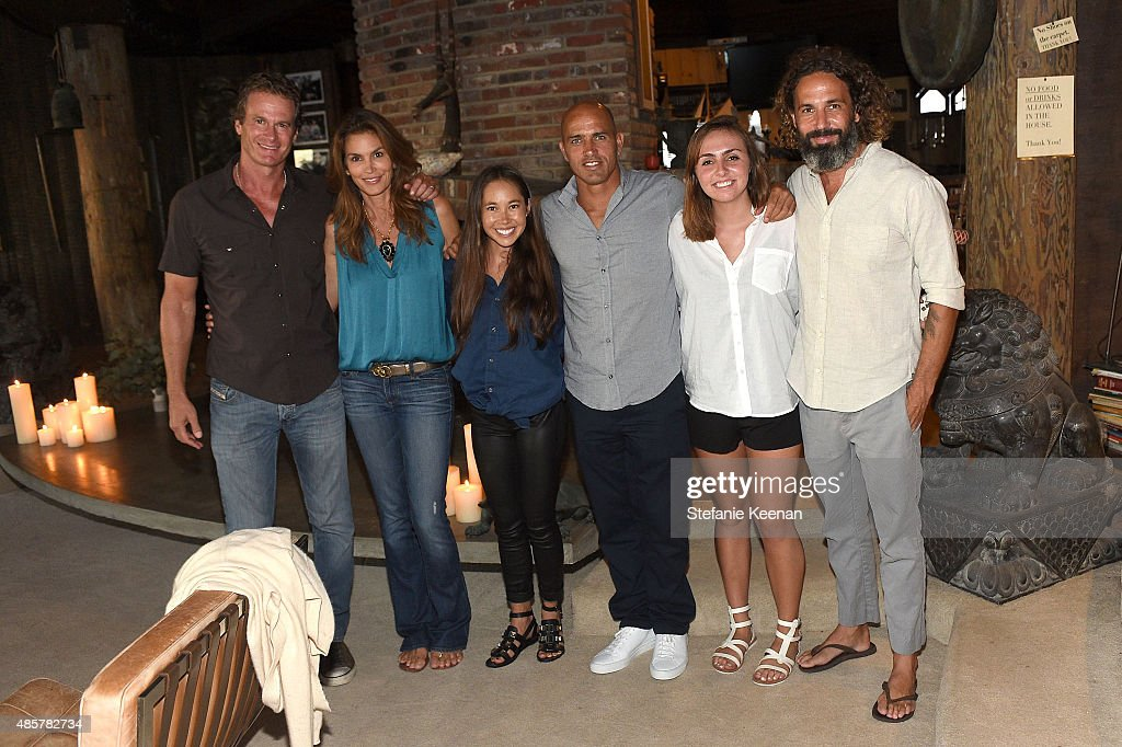 Rande Gerber, Cindy Crawford, Kalani Miller, Kelly Slater, Taylor Slater and John Moore attend Kelly Slater, John Moore and Friends Celebrate the Launch of Outerknown at Private Residence on August 29, 2015 in Malibu, California.