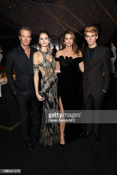 Rande Gerber Kaia Gerber Cindy Crawford and Presley Gerber during preceremony drinks at The Fashion Awards 2018 In Partnership With Swarovski at...