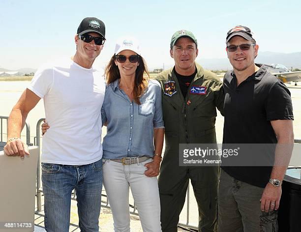 Rande Gerber model/actress Cindy Crawford pilot Dan Friedkin and actor Matt Damon attend The Horsemen Flight Team Event Hosted By Dan Friedkin And...