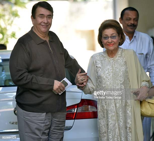 Randhir Kapoor and Krishna Raj Kapoor at Christmas brunch by Shashi Kapoor in Mumbai