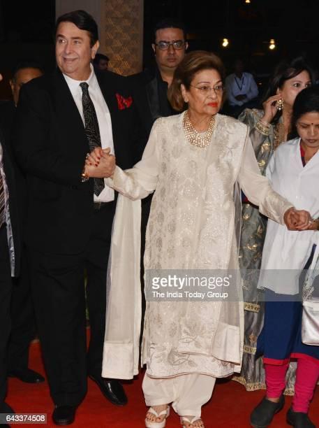 Randhir Kapoor and Krishna Raj Kapoor during the wedding reception of actor Neil Nitin Mukesh in Mumbai