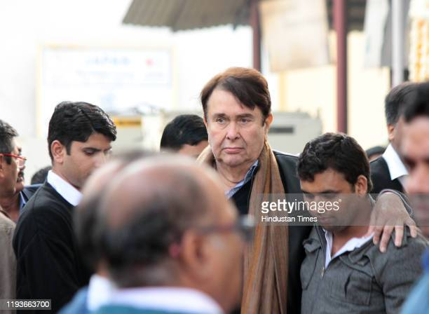 Randhir Kapoor at the funeral of Ritu Nanda at Lodhi Road Crematorium on January 14 2020 in New Delhi India Ritu Nanda late actor Raj Kapoor's...