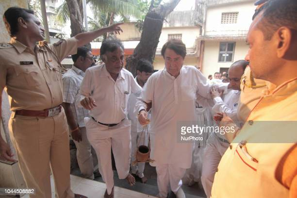 Randhir Kapoor during the funeral of late Krishna Raj Kapoor who passed away of cardiac arrest in Mumbai on October 01 2018 The cremation took place...
