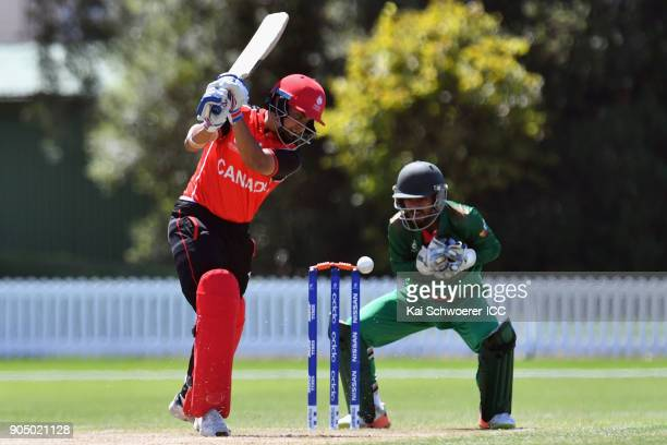 Randhir Sandhu of Canada is bowled by Afif Hossain Dhrubo of Bangladesh during the ICC U19 Cricket World Cup match between Bangladesh and Canada at...