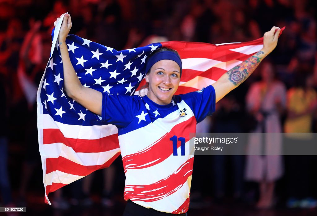 Randi Hobson #11 of the United States celebrates winning Bronze in the Sitting Volleyball finals during the Invictus Games 2017 at Mattamy Athletics Centre on September 27, 2017 in Toronto, Canada.