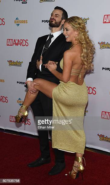 Randi Marsh and adult film actress Cherie DeVille attend the 2016 Adult Video News Awards at the Hard Rock Hotel Casino on January 23 2016 in Las...