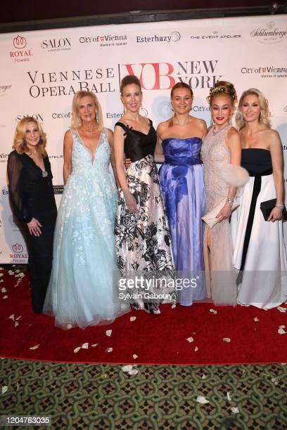 Randi Schatz Ruth Miller Silvia Frieser Alisa Roever Lucia Hwong Gordon and Sabine Riglos attend the 65th Viennese Opera Ball at Cipriani 42nd Street...