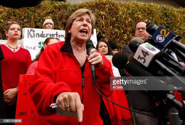 Randi Weingarten left President of American Federation of Teachers speaks in support as UTLA President Alex Caputo Pearl right hold a press...