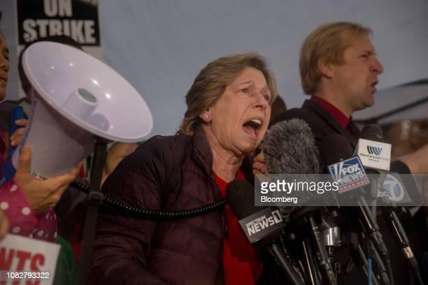 Randi Weingarten, president of the American Federation of Teachers, speaks during a teachers strike rally outside of John Marshall High School in Los...