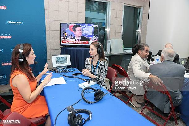 Randi Zuckerberg Business Radio interviews Ana Kasparian Producer of the Young Turks on SiriusXM on July 27 2016 in Philadelphia Pennsylvania
