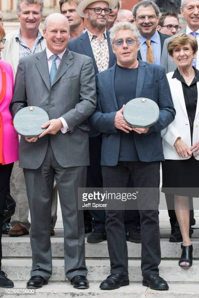 Randolph Churchill and Roger Daltrey attend the launch of the Royal Albert Hall 'Walk Of Fame' at Royal Albert Hall on September 4 2018 in London...