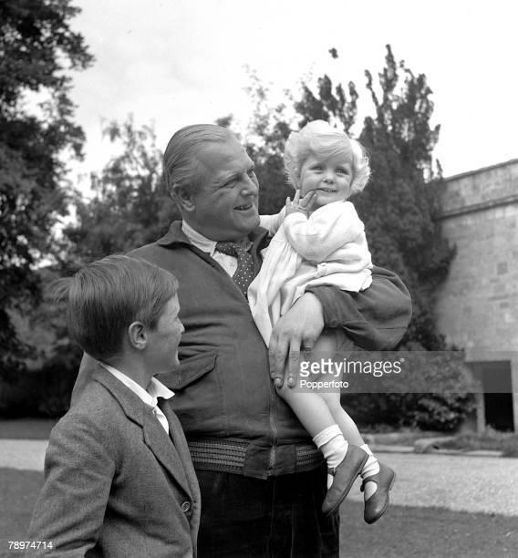 Randolph Churchill, son of former British Prime Minister Winton, with his children Winston and Arabella, 1951