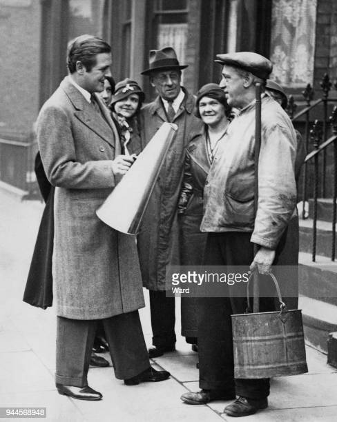 Randolph Churchill , the son of statesman Winston Churchill and the Conservative candidate for West Toxteth in Liverpool, out canvassing before the...