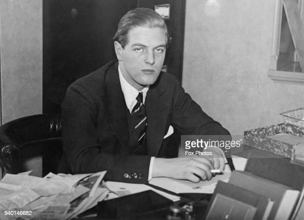 Randolph Churchill , the son of statesman Winston Churchill, circa 1935.