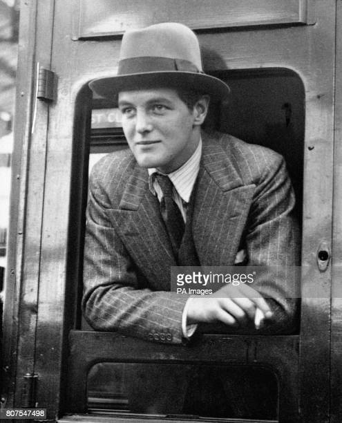 Randolph Churchill, the son of Winston Churchill, at Waterloo Station before leaving for America.