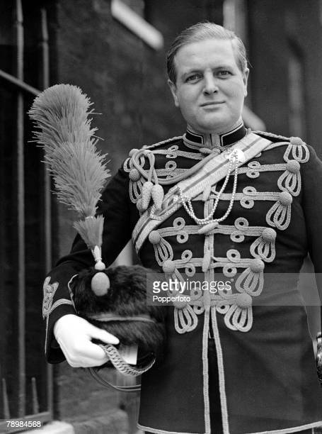 Randolph Churchill wearing the Uniform of the 4th Hussars when he attended the levee at St James' Palace London 23rd May 1939.