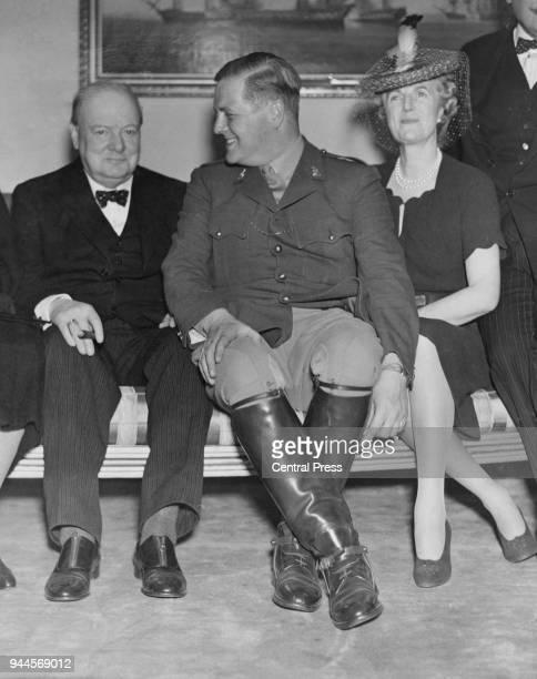 Randolph Churchill with his parents statesman Winston Churchill and Clementine Churchill 1939