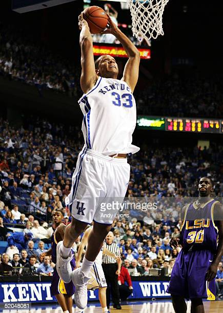 Randolph Morris of Kentucky goes up for a dunk against LSU on January 22, 2005 at Rupp Arena in Lexington, Kentucky. Kentucky won 89-58.