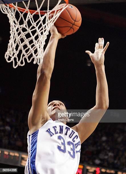 Randolph Morris of the Kentucky Wildcats shoots the ball against the Alabama Crimson Tide on January 14 2006 at Rupp Arena in Lexington Kentucky...