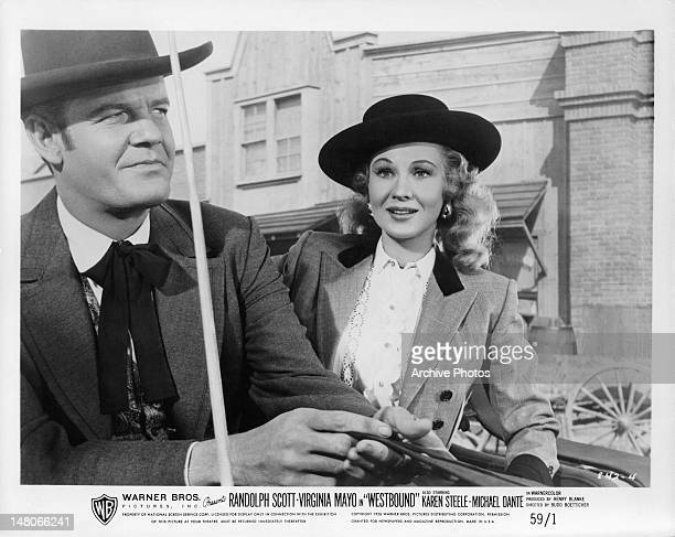Randolph Scott and Virginia Mayo in a scene from the film 'Westbound' 1958