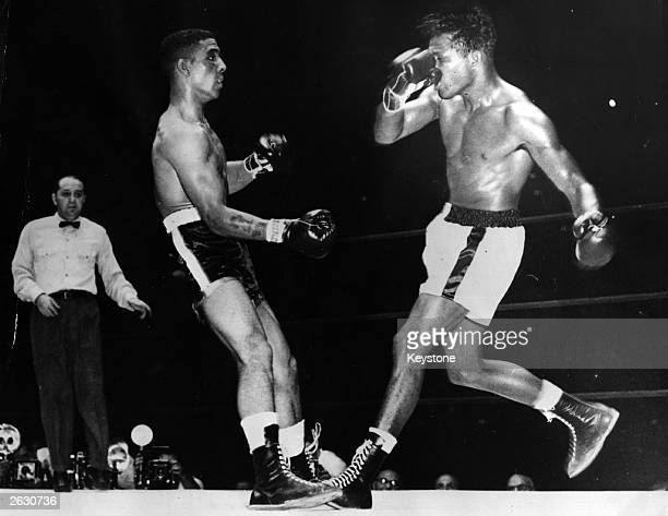 Randolph Turpin English middleweight boxer and British and European champion just before the fight was stopped to save him from any further damage...