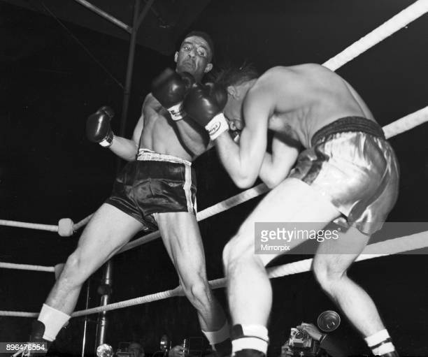 Randolph Turpin v Charles Numez pictured in ring fighting for vacant EBU middleweight title at the White City Stadium White City London Tuesday 9th...