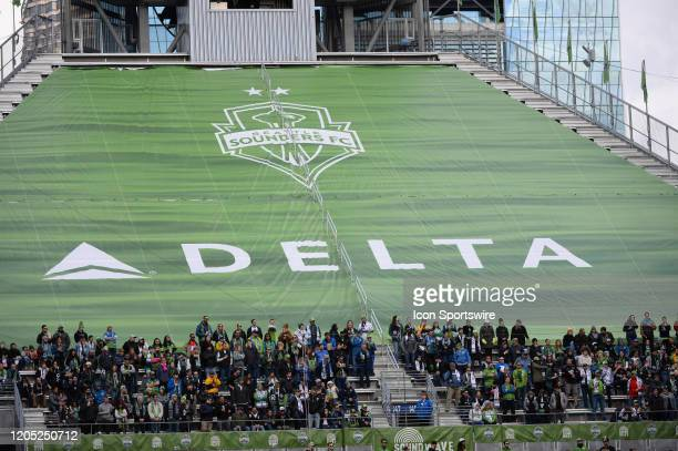 A random Delta Airlines ad seen inside Century Link Field during a MLS match between the Chicago Fire and the Seattle Sounders at Century Link Field...