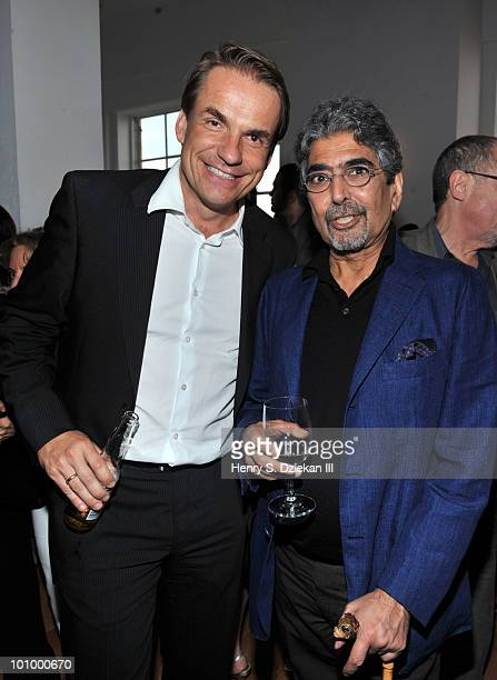 Random House CEO Markus Dohle and publisher and editorinchief of Alfred A Knopf Sonny Mehta attend the BookExpo for Knopf cocktail party at The...