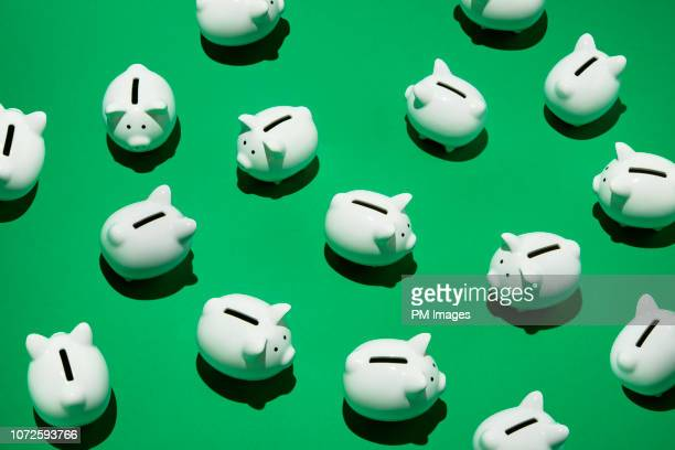 random little white piggy banks - consumentisme stockfoto's en -beelden