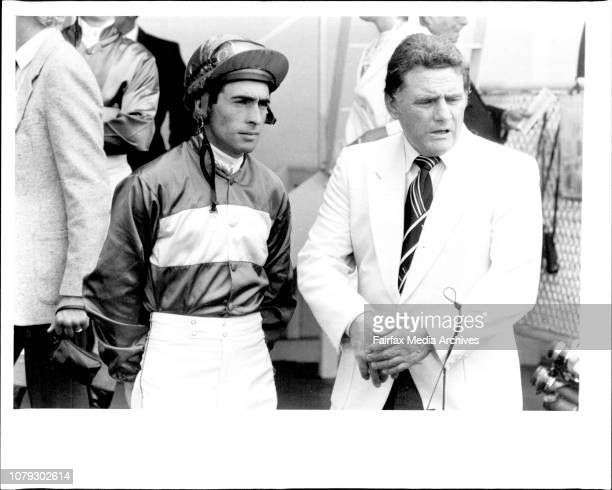 Others W Sorensen and GJ IngsBill Sorensen takes a word of advice from Monreality's trainer Mr GJ Ings before the start of Race 1 January 25 1986