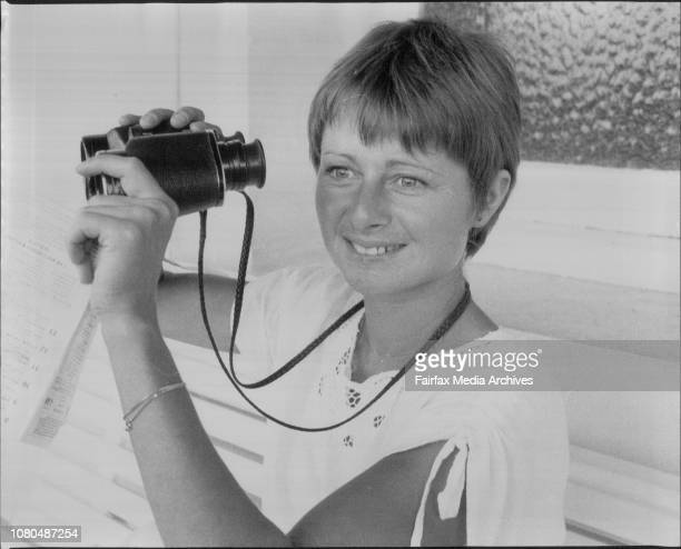 Joanna at the racesVisiting Welsh woman jockey Joanna Morgan at Randwick races today She is on crutches after her recent race fall April 12 1980