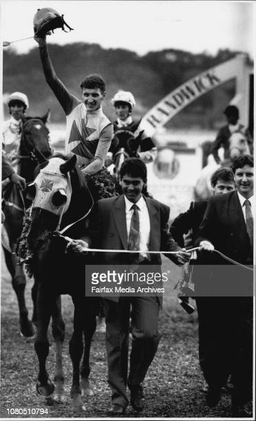 Randwick Races on Sat 30th March 1991Winner of Race 4 Durbridge being lead back to scale March 31 1991