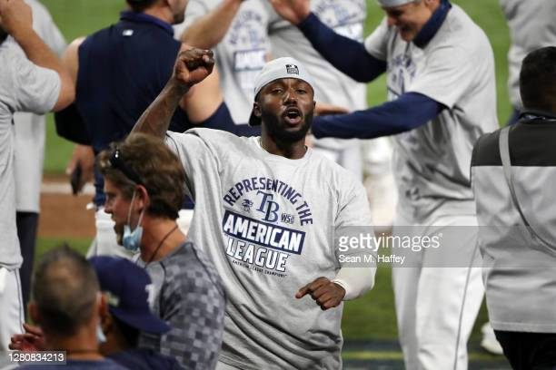 Randy Arozarena of the Tampa Bay Rays celebrates a series win against the Houston Astros in Game Seven of the American League Championship Series at...