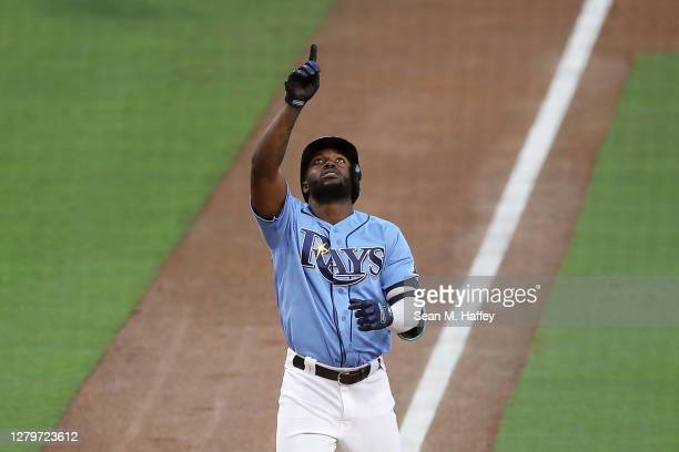 Randy Arozarena of the Tampa Bay Rays celebrates after hitting a solo home run against the Houston Astros during the fourth inning in game one of the...