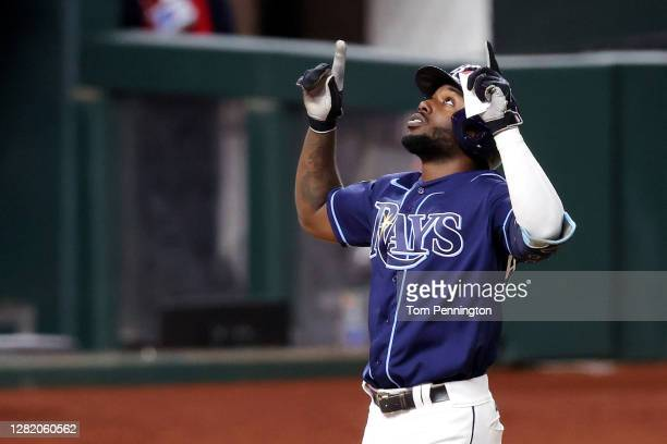 Randy Arozarena of the Tampa Bay Rays celebrates after hitting a solo home run against the Los Angeles Dodgers during the fourth inning in Game Four...