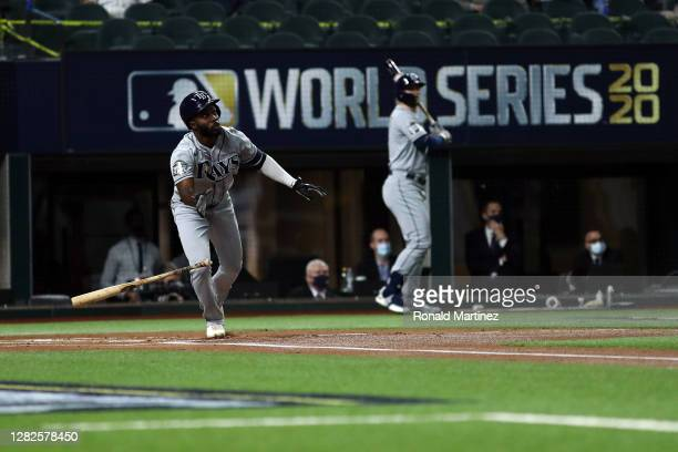 Randy Arozarena of the Tampa Bay Rays hits a solo home run against the Los Angeles Dodgers during the first inning in Game Six of the 2020 MLB World...