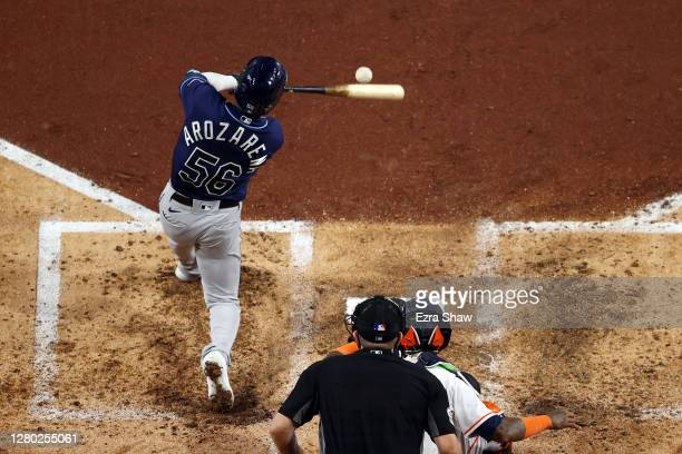 Randy Arozarena of the Tampa Bay Rays hits a two run home run off Zack Greinke of the Houston Astros during the fourth inning in Game Four of the...