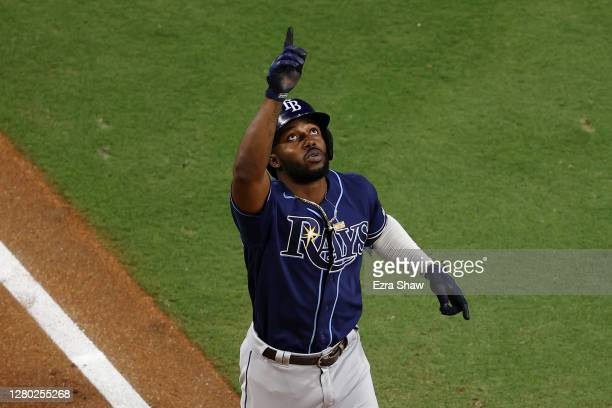 Randy Arozarena of the Tampa Bay Rays points to the sky after hitting a two run home run off Zack Greinke of the Houston Astros during the fourth...