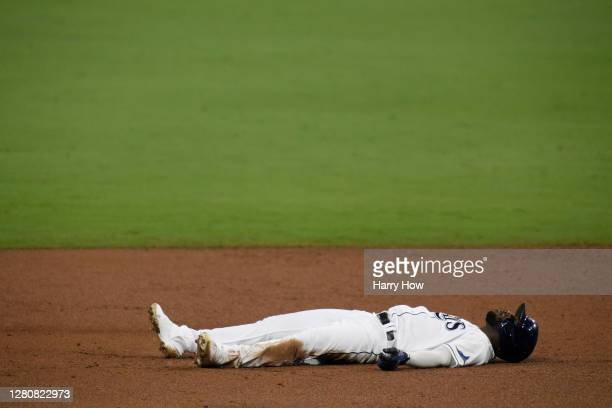 Randy Arozarena of the Tampa Bay Rays reacts after being called out at second base against the Houston Astros during the third inning in Game Seven...