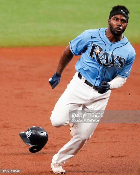 Randy Arozarena of the Tampa Bay Rays rounds second base on a single from Nate Lowe during the third inning against the Philadelphia Phillies at...