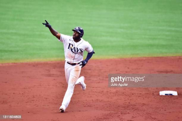 Randy Arozarena of the Tampa Bay Rays runs the bases after hitting a home run off of Domingo German of the New York Yankees in the third inning at...