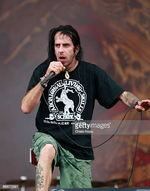 Randy Blythe of Lamb Of God performs on stage at Knebworth House on August 2, 2009 in Stevenage, England.
