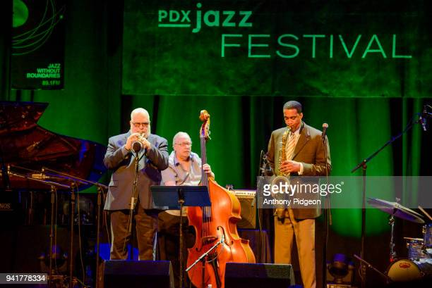 Randy Brecker Eddie Gomez and Javon Jackson of Jazz By 5 perform on stage at Revolution Hall as part of the PDX Jazz Festival in Portland Oregon USA...