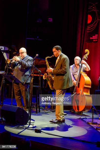 Randy Brecker Javon Jackson Eddie Gomez of Jazz By 5 perform on stage at Revolution Hall as part of the PDX Jazz Festival in Portland Oregon USA on...