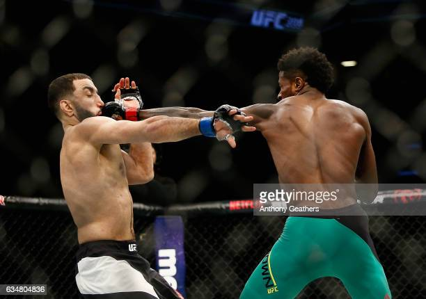 Randy Brown of Jamaica lands a punch against Belal Muhammad of United States in their welterweight bout during UFC 208 at the Barclays Center on...