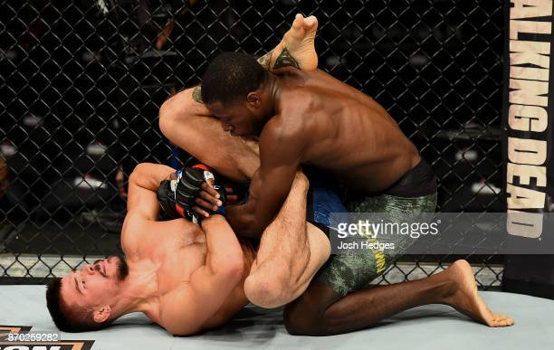 Randy Brown of Jamaica locks up Mickey Gall in their welterweight bout during the UFC 217 event at Madison Square Garden on November 4 2017 in New...